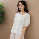 現貨-MIUSTAR 方領排釦滿版花刺繡棉麻上衣(共2色)【NJ1062】