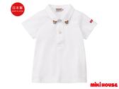MIKI HOUSE 日本製 普奇熊POLO衫短袖上衣(白)