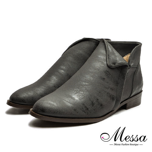 【Messa米莎專櫃女鞋】MIT顯瘦反折側V油臘皮感內真皮裸靴-黑色