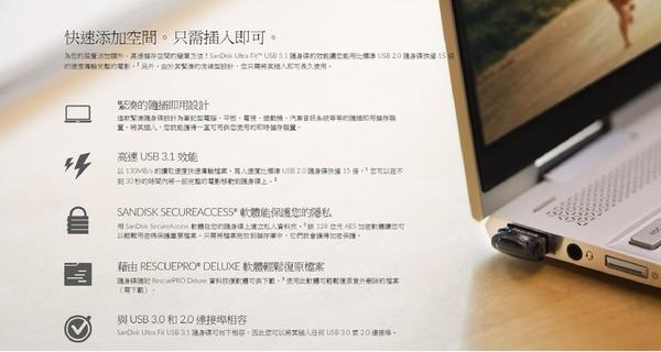 【附吊繩】SanDisk 256GB 256G ultra Fit【SDCZ430-256G】130MB/s SD CZ430 USB3.1 隨身碟