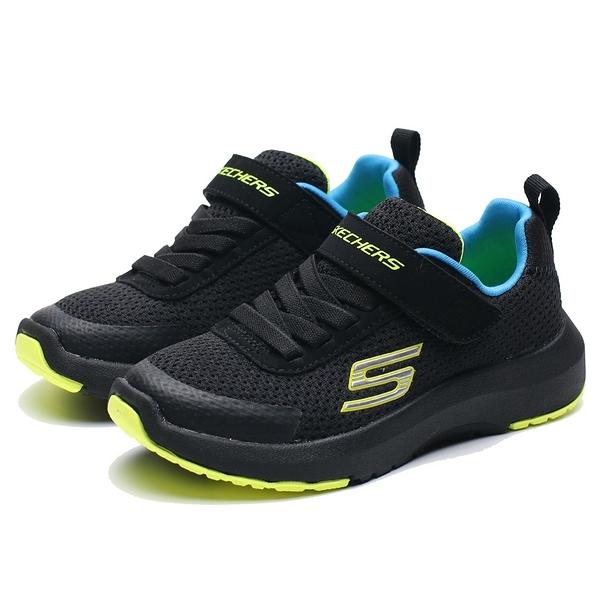 SKECHERS DYNAMIC TREAD 全黑 網布 螢光綠 藍 魔鬼氈 運動鞋 中童(布魯克林) 98151LBBLM