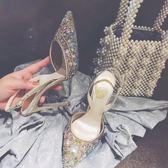 2018夏季新款包頭尖頭網布蕾絲歐美水鑚中空后絆帶細跟高跟女涼鞋   初見居家