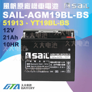 久大電池 風帆SAIL AGM19BL-BS 機車電池 AGM-GEL 適用 51913、YT19BL-BS機車電瓶