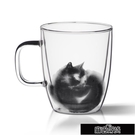 九土簡約家用玻璃杯女雙層隔熱水杯咖啡杯貓...