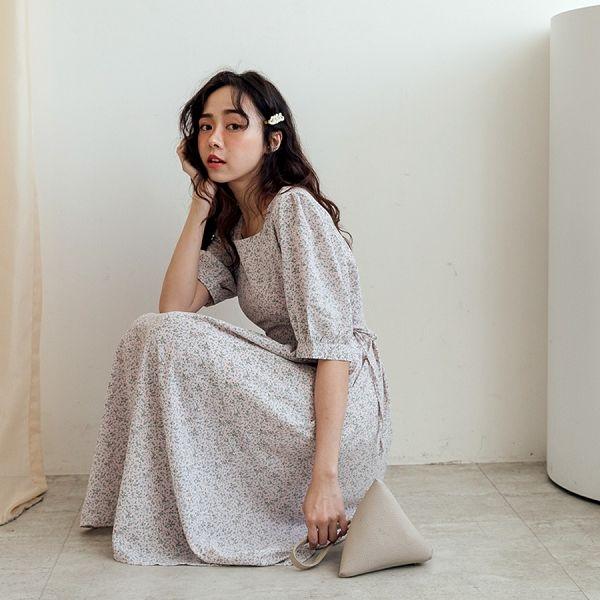 MIUSTAR 側腰綁結方領碎花洋裝(共3色)【NJ1150】預購