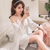 純色蕾絲睡衣女夏季性感吊帶睡裙睡袍兩件套韓版絲綢絲質冰絲浴袍 衣櫥の秘密