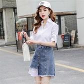 【快出】牛仔裙夏季時尚套裝白色中長款襯衫不規則洋裝加配牛仔半身裙子兩件套