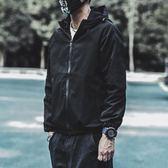 秋季潮流韓版衝鋒衣男薄款修身純色加棉加厚休閒連帽外套夾克男潮