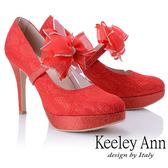 ★2018秋冬★Keeley Ann優雅迷人~可拆式網紗蝴蝶結腳背帶高跟鞋(紅色)