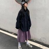 復古套裝工裝襯衫半身裙子日系兩件套女【小酒窩服飾】