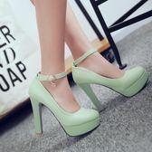 白色防水臺女鞋單鞋女士超高跟鞋皮鞋夏季粗跟單跟恨天高淺色鞋子 後街五號