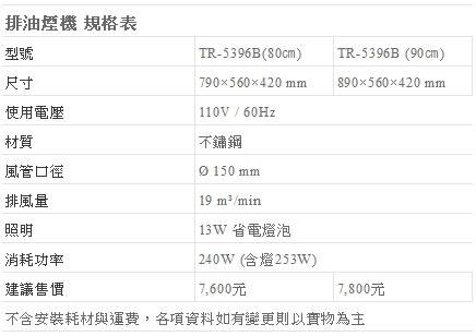 【fami】莊頭北 排除油煙機 斜背式 TR 5396SXL (90CM) 斜背式排油煙機(吸力哥)
