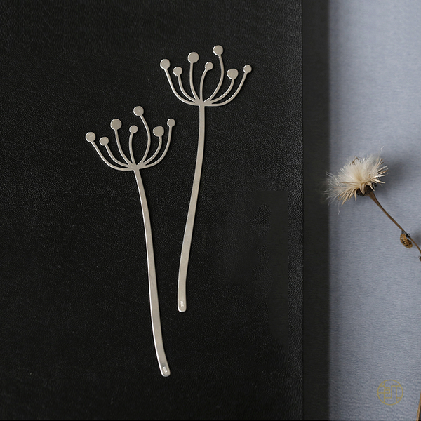 藝術素銀文藝氣質925純銀花卉文具書籤/設計家