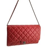 CHANEL 紅色菱格紋皮革銀鍊手拿肩背兩用信封包(九成新)