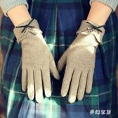 保暖手套羊毛女士秋冬天加絨加厚手套五指分指可觸屏sd4413『夢幻家居』