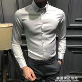 春季新款純色休閒長袖襯衫男韓版修身百搭襯衣男潮流帥氣寸衫男裝