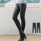 內搭褲--搖滾指標ROCK狂想帥氣百搭鬆緊腰頭超彈絲滑薄款仿皮褲(黑XL-4L)-R179眼圈熊中大尺碼◎