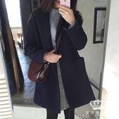 毛呢外套 韓版秋冬新款加厚小個子大碼寬松中長款女毛呢大衣
