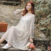 大尺碼洋裝文藝復古寬鬆大尺碼女蕾絲小清新長袖連身裙 入秋首選