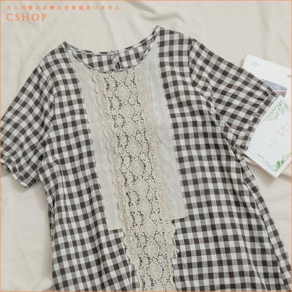 洋裝 光絢森旅手鉤蕾絲格紋棉麻長洋裝 單色-小C館日系
