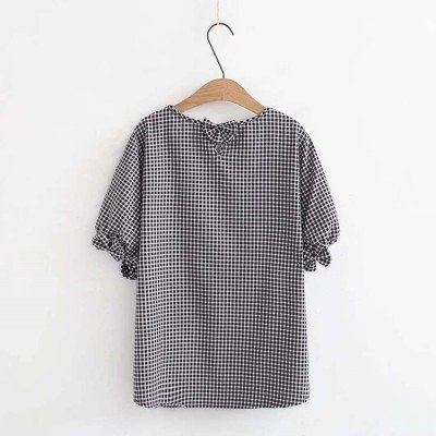 歐美襯衫中大尺碼上衣M-3XL大碼女裝蝴蝶結燈籠袖顯瘦圓領短袖格紋T恤上衣X46A-3118一號公館