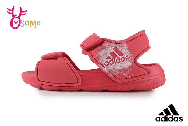 adidas童涼鞋 愛迪達涼鞋 防水涼鞋 兒童涼鞋 寶寶涼鞋 輕量 女童涼鞋 R9338#橘紅◆OSOME奧森鞋業