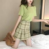 短裙套裝夏季2020新款洋氣小個子兩件套裝女法式牛油果綠超仙小清新短裙子 雲朵走走