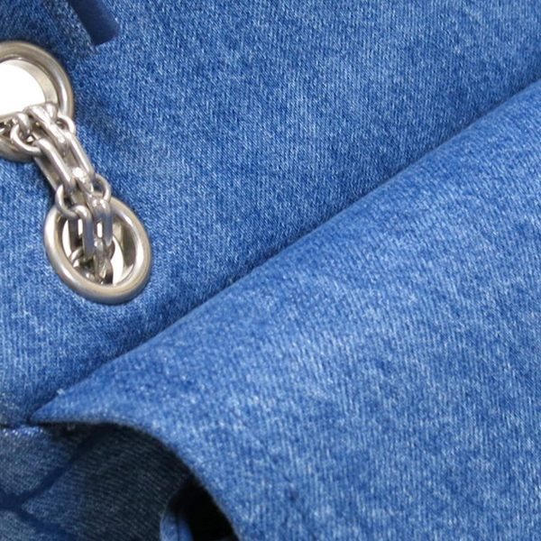 CHANEL 香奈兒 藍色菱格紋丹寧布2.55方釦霧銀鍊肩背斜背包【二手名牌 BRAND OFF】