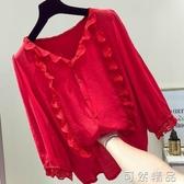紅色雪紡上衣女  蕾絲邊寬鬆遮肚子雪紡衫超仙洋氣小衫可然 鞋櫃
