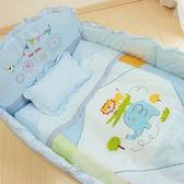 GMP BABY 寢具組-動物園加厚七件組-藍