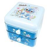 〔小禮堂〕迪士尼 史迪奇 桌上型塑膠雙抽收納盒《藍.站姿》置物盒.抽屜盒 4548626-08240