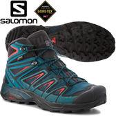 Salomon 404672池青/紅 X Ultra 3 GTX 男中筒登山鞋 Gore-Tex健行鞋
