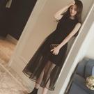 夏季2020新款韓版網紗拼接假兩件收腰短袖連身裙女中長款網紗裙子