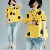 大尺碼女裝夏季新款文藝圓點印花立領棉麻襯衫寬鬆短袖亞麻上衣