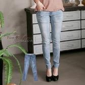 加大尺碼--百搭優質銅釦刷色針織內裡窄管牛仔褲/鉛筆褲(藍XL-7L)-N96眼圈熊中大尺碼