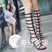 涼靴女2018新款歐美鏤空性感粗跟長靴時尚露趾百搭羅馬高筒涼鞋夏-奇幻樂園