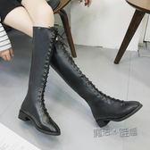 馬丁靴女長靴女過膝瘦腿長筒高筒靴英倫繫帶騎士機車靴  『魔法鞋櫃』