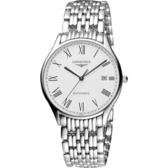 LONGINES 浪琴 Lyre 琴韻羅馬經典機械腕錶/手錶-白/38mm L49604116