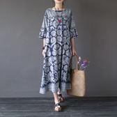 長袖洋裝 圖騰 盤釦 棉麻 寬鬆 七分袖洋裝 連身裙【CM01627】 icoca  10/26