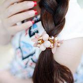 [618好康又一發]髪飾發圈花朵仿珍珠頭花發花朵發繩盤發頭繩