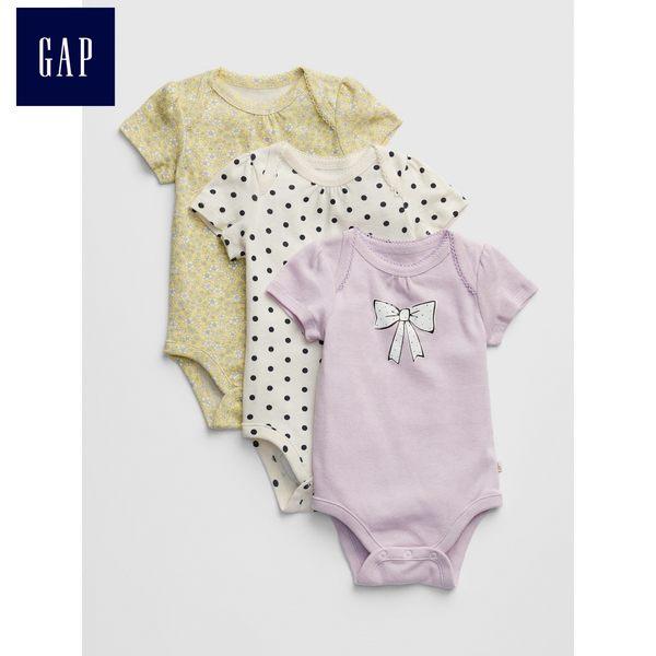 Gap女嬰兒 溫馨風格印花短袖連身衣三件裝 442446-粉紫色