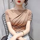 上衣素面S-XL簡約女神淑女韓系夏季t恤修身兩穿一字領顯瘦小心機短袖上衣.T327.216胖胖唯依