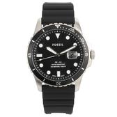 FOSSIL 黑色日期錶盤矽膠錶帶男腕錶42mm(FS5660)270553