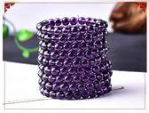 紫水晶單圈手鍊男女同款情侶式佛珠手串