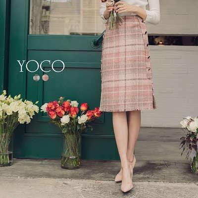 東京著衣【YOCO】法式優雅配色格紋排釦開衩中長裙-S.M.L(172874)