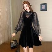 年會禮服 絲絨連衣裙春女裝新款高端禮服年會法式顯瘦氣質赫本小黑裙【快速出貨八折鉅惠】