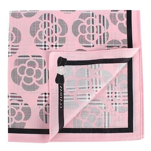 CLATHAS 滿版山茶花純綿帕巾(粉紅色)989265-19