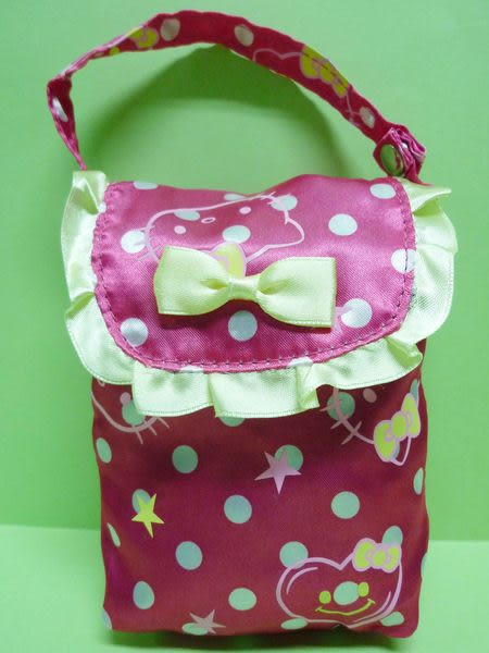 【震撼精品百貨】Hello Kitty 凱蒂貓~雙面亮面手提袋『桃白點點大臉』