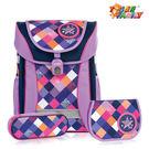 【TigerFamily】學院風超輕量護脊書包-優雅紫(含文具袋+鉛筆盒)