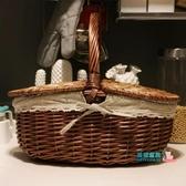 野餐籃 大號塑料藤編清潔籃 酒店PA保潔籃 野餐籃子 購物提籃 物業工具籃JY